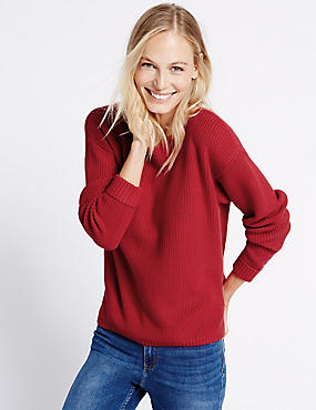 Pure Cotton Ribbed Slash Neck Jumper, RED, catlanding