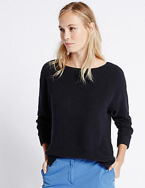 Pure Cotton Ribbed Slash Neck Jumper, NAVY, catlanding