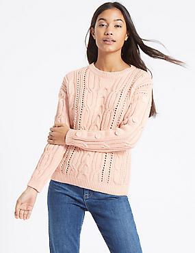 Cotton Blend Cable Knit Button Sleeve Jumper, BLUSH, catlanding
