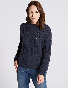Cotton Blend Cable Knit Button Sleeve Jumper, NAVY, catlanding