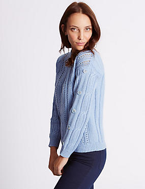 Cotton Blend Cable Knit Button Sleeve Jumper, WEDGEWOOD, catlanding