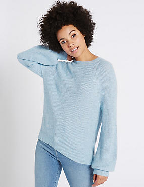 Ribbed Balloon Sleeve Round Neck Jumper, SOFT BLUE, catlanding