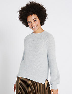 Ribbed Balloon Sleeve Round Neck Jumper, SILVER GREY, catlanding