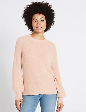 Ribbed Balloon Sleeve Round Neck Jumper, SOFT CORAL, catlanding