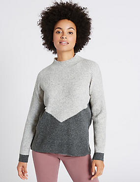 Colour Block Drop Shoulder Jumper, SILVER GREY, catlanding