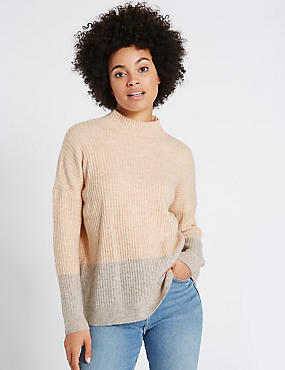 Colour Block Sparkle Hem Jumper, PALE PINK, catlanding
