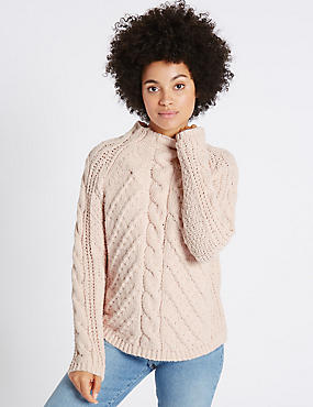 Chenille Cable Funnel Neck Jumper, BLUSH, catlanding