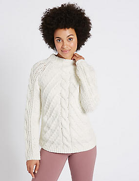 Chenille Cable Funnel Neck Jumper, CREAM, catlanding