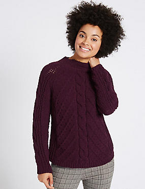 Chenille Cable Funnel Neck Jumper, DARK GRAPE, catlanding