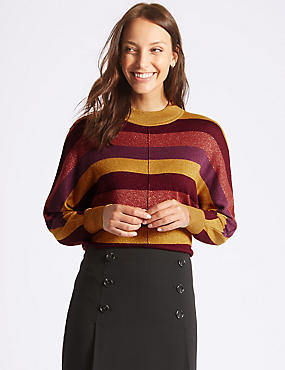 Striped Funnel Neck Jumper, PURPLE MIX, catlanding