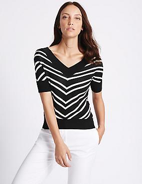 Striped V-Neck Half Sleeve Jumper, BLACK MIX, catlanding