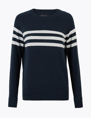 Cotton Striped Jumper with Cashmere
