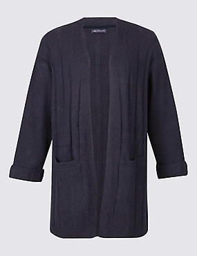 PLUS Longline 2 Pocket Cardigan, NAVY, catlanding