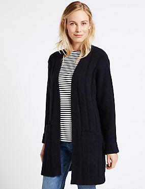 Textured 2 Pocket Cardigan, NAVY, catlanding