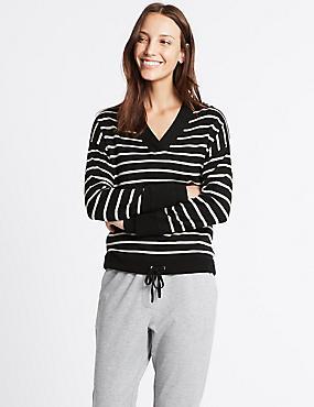 Pure Wool Drawstring Striped V-Neck Jumper, BLACK MIX, catlanding
