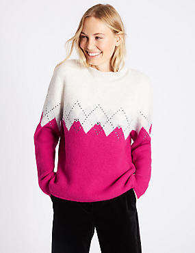 Colour Block Round Neck Jumper, PINK MIX, catlanding