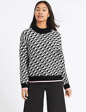 Cotton Blend Dogtooth Textured Jumper, CREAM MIX, catlanding