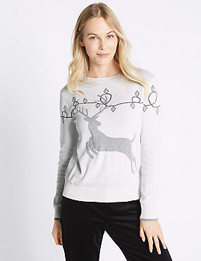 Cotton Rich Fairisle Stag Novelty Jumper, CREAM MIX, catlanding