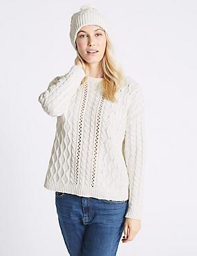 Cotton Blend Textured Jumper with Hat , CREAM, catlanding