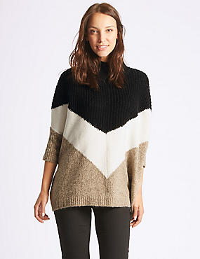 Colour Block Poncho Funnel Neck Jumper, OATMEAL MIX, catlanding