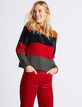 Chenille Colour Block Round Neck Jumper, MULTI/NEUTRAL, catlanding