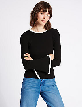 Ribbed Contrasting Edge Round Neck Jumper, BLACK MIX, catlanding