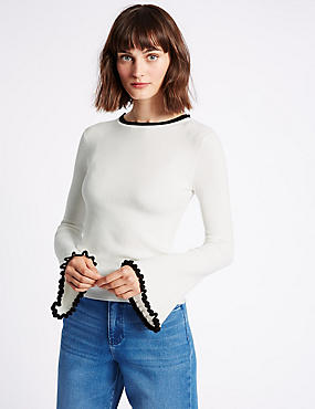 Ribbed Contrasting Edge Round Neck Jumper, IVORY MIX, catlanding