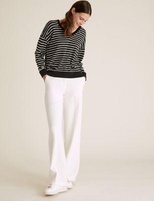 Pure Merino Wool Striped V-Neck Jumper