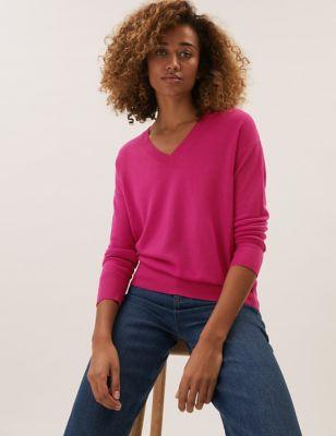Pure Merino Wool V-Neck Relaxed Jumper