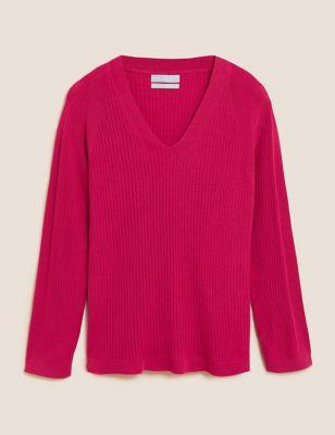 Pure Merino Wool Ribbed Longline Jumper