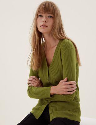 Pure Merino Wool V-Neck Longline Cardigan