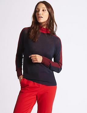 Merino Wool Rich Colour Block Jumper, NAVY MIX, catlanding