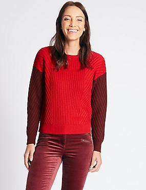 Wool Rich Colour Block Round Neck Jumper, RED MIX, catlanding