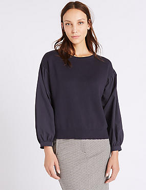 Pure Cotton Poplin Round Neck Jumper, NAVY, catlanding