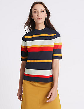 Striped Turtle Neck Half Sleeve Jumpers, ORANGE MIX, catlanding