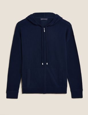 Cotton Relaxed Zip Up Hoodie with Cashmere