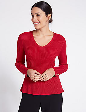Ribbed Peplum Hem V-Neck Jumper, RED, catlanding