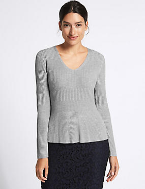 Ribbed Peplum Hem V-Neck Jumper, GREY, catlanding
