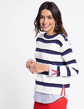 Cotton Rich Striped Round Neck Jumper, BLUE MIX, catlanding