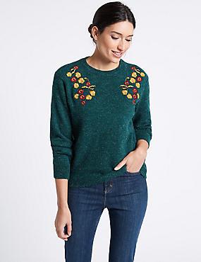 Embroidered Round Neck Long Sleeve Jumper, TEAL, catlanding