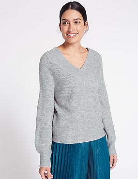 Textured V-Neck Jumper, SILVER GREY, catlanding