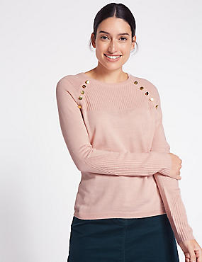 Cashmilon™ Button Shoulder Jumper, PINK, catlanding