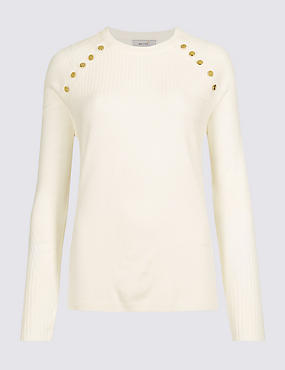 Cashmilon™ Button Shoulder Jumper, IVORY, catlanding
