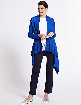 Pure Cotton Textured Open Front Cardigan, BRIGHT BLUE, catlanding