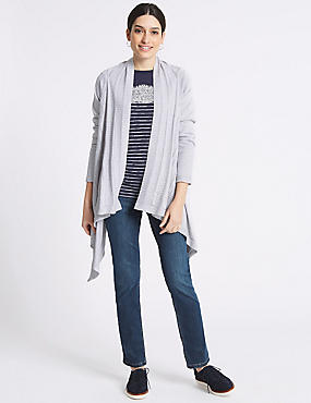 Pure Cotton Textured Open Front Cardigan, GREY, catlanding