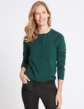 Ribbed Round Neck Cardigan, BOTTLE GREEN, catlanding