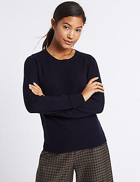 Lambswool Rich Round Neck Jumper, NAVY, catlanding