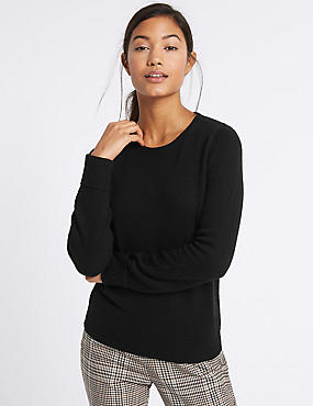 Lambswool Rich Round Neck Jumper, BLACK, catlanding