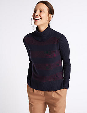 Printed Lambswool Rich Roll Neck Jumper, NAVY MIX, catlanding