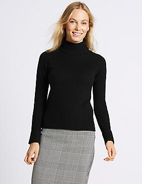 Lambswool Rich Roll Neck Jumper, BLACK, catlanding